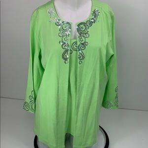 NWOT Quacker Factory Sequin Green Sweater M